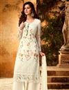 image of Designer Georgette Festive Wear Embroidered Off White Palazzo Suit
