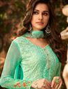 photo of Designer Georgette Festive Wear Embroidered Sea Green Palazzo Suit