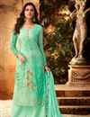image of Designer Georgette Festive Wear Embroidered Sea Green Palazzo Suit