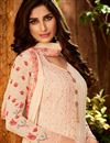 photo of Peach Festive Wear Designer Embroidered Georgette Palazzo Suit
