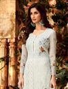 photo of Grey Festive Wear Designer Embroidered Georgette Palazzo Suit