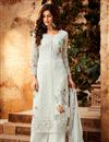 image of Grey Festive Wear Designer Embroidered Georgette Palazzo Suit