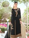 image of Embroidery Work On Black Party Wear Palazzo Suit In Georgette