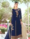 image of Georgette Designer Palazzo Salwar Suit In Navy Blue With Embroidery