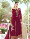 image of Maroon Georgette Function Wear Embroidered Palazzo Salwar Kameez