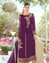 image of Dark Magenta Embroidery Work On Occasion Wear Palazzo Dress In Georgette