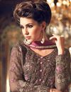 photo of Embroidery Designs On Dark Beige Georgette Designer Straight Cut Salwar Kameez