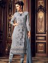 image of Georgette Grey Occasion Wear Straight Cut Salwar Suit With Embroidery Work