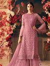 image of Designer Pink Color Net Festive Wear Palazzo Salwar Kameez