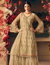 image of Ethnic Wear Net Palazzo Salwar Suit In Designer Beige Color