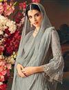 photo of Function Wear Grey Color Designer Net Palazzo Salwar Kameez