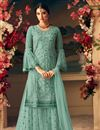 image of Designer Green Color Occasion Wear Palazzo Dress In Net Fabric