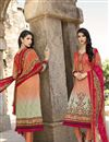 image of Orange-Cream Color Straight Cut Party Wear Cotton Salwar Kameez