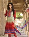 image of Orange-Cream Color Straight Cut Cotton Salwar Suit with Embroidery