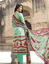 photo of Straight Cut Party Wear Cotton Salwar Kameez in Cyan-White Color