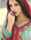 picture of Straight Cut Party Wear Cotton Salwar Kameez in Cyan-White Color
