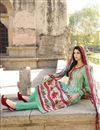 image of Straight Cut Party Wear Cotton Salwar Kameez in Cyan-White Color