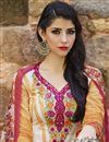 photo of Straight Cut Party Wear Cotton Salwar Kameez in White-Orange Color
