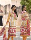 image of Straight Cut Party Wear Cotton Salwar Kameez in White-Orange Color