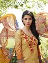 picture of Orange Color Straight Cut Cotton Salwar Kameez with Embroidery