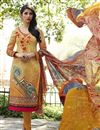 image of Orange Color Straight Cut Cotton Salwar Kameez with Embroidery