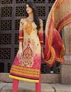 image of Cream-Pink Color Straight Cut Cotton Salwar Suit with Embroidery