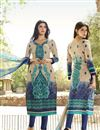 image of Cream-Blue Color Straight Cut Cotton Salwar Suit with Embroidery