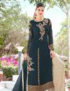 image of Teal Embroidered Georgette Designer Palazzo Style Salwar Kameez