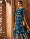 image of Georgette Designer Navy Blue Fancy Sharara Suit With Embroidery Work
