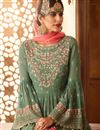 photo of Wedding Function Wear Sea Green Embroidered Sharara Suit In Georgette
