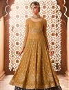 image of Mustard Georgette Designer Wedding Wear Sharara Suit With Embroidery