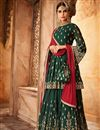 image of Function Wear Georgette Fancy Sharara Suit In Dark Green With Embroidery