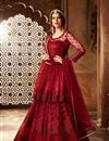 image of Maroon Net Party Wear Floor Length Anarkali Salwar Kameez With Embroidery
