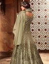 photo of Cream Net Party Wear Floor Length Anarkali Salwar Kameez With Embroidery