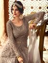 photo of Fancy Function Wear Grey Designer Long Anarkali Salwar Kameez In Net