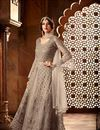 image of Fancy Function Wear Grey Designer Long Anarkali Salwar Kameez In Net