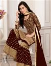 photo of Designer Georgette Maroon Function Wear Sharara Dress