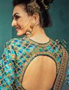 photo of Art Silk Fabric Sangeet Function Wear Designer Embroidered Sky Blue Color Lehenga