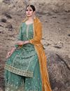 photo of Georgette Fabric Dark Teal Color Function Wear Embroidered Palazzo Suit