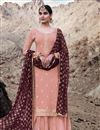 image of Occasion Wear Georgette Fabric Embroidered Palazzo Salwar Kameez In Peach Color