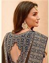 photo of Fancy Embellished Dark Brown Border Work Designer Saree