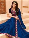 image of Blue Fancy Border Work Designer Saree