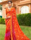 image of Festive Wear Orange Color Satin Fabric Fancy Bandhej Print Saree