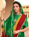 photo of Green Color Festive Wear Fancy Bandhani Print Satin Fabric Saree