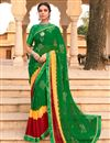 image of Green Color Festive Wear Fancy Bandhani Print Satin Fabric Saree