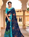 image of Navy Blue Color Satin Fabric Festive Wear Fancy Bandhej Print Saree