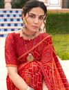photo of Satin Fabric Festive Wear Red Color Fancy Bandhej Print Saree
