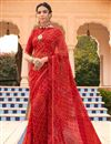 image of Satin Fabric Festive Wear Fancy Bandhani Print Saree In Red Color