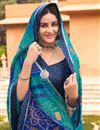 photo of Satin Fabric Festive Wear Cyan Color Fancy Bandhej Print Saree