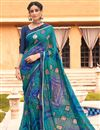 image of Satin Fabric Festive Wear Cyan Color Fancy Bandhej Print Saree